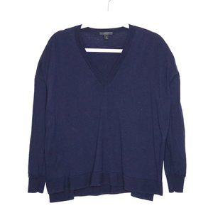 J Crew | Navy V Neck Wool Blend Sweater S